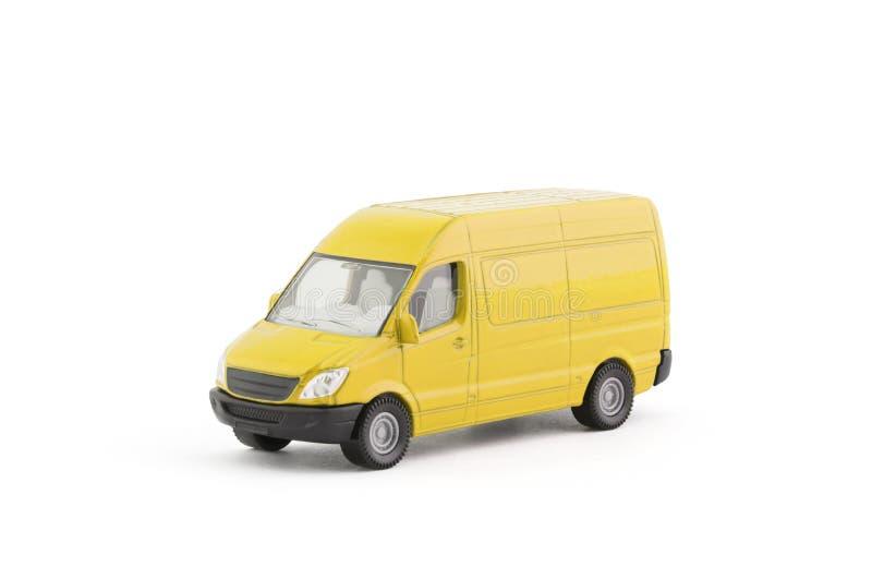 运输在白色背景的黄色van car 免版税图库摄影
