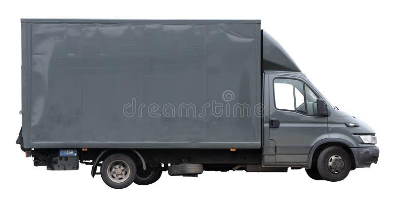 运输或移动的范灰色在白色背景隔绝了 库存照片