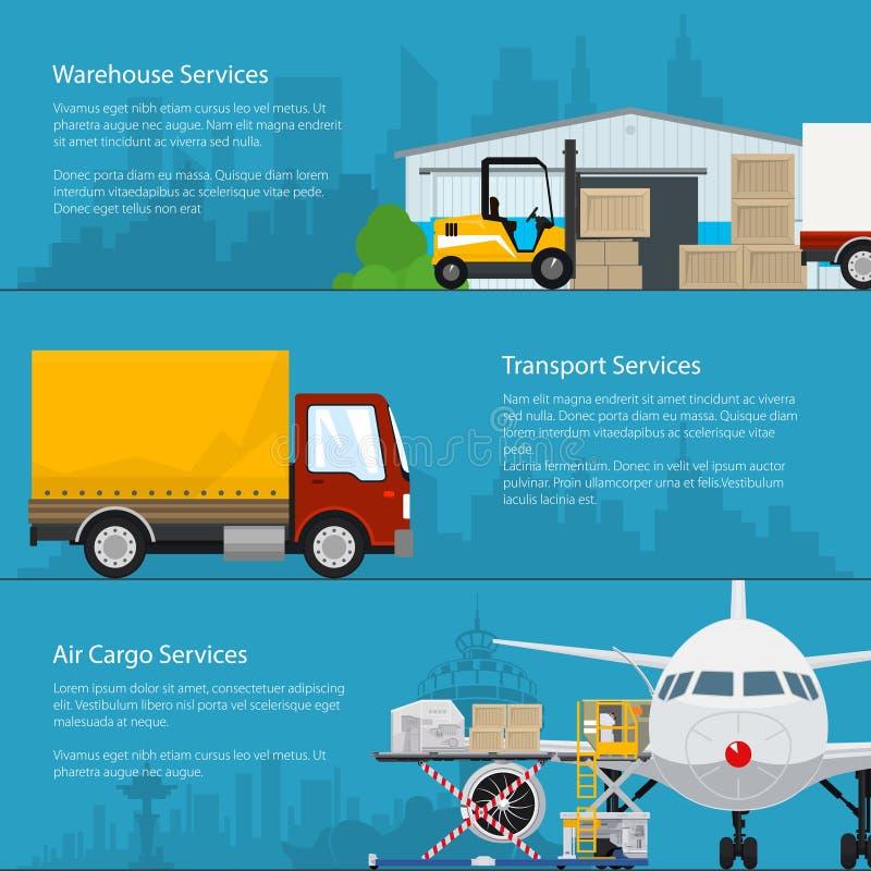 运输服务和存贮横幅  向量例证