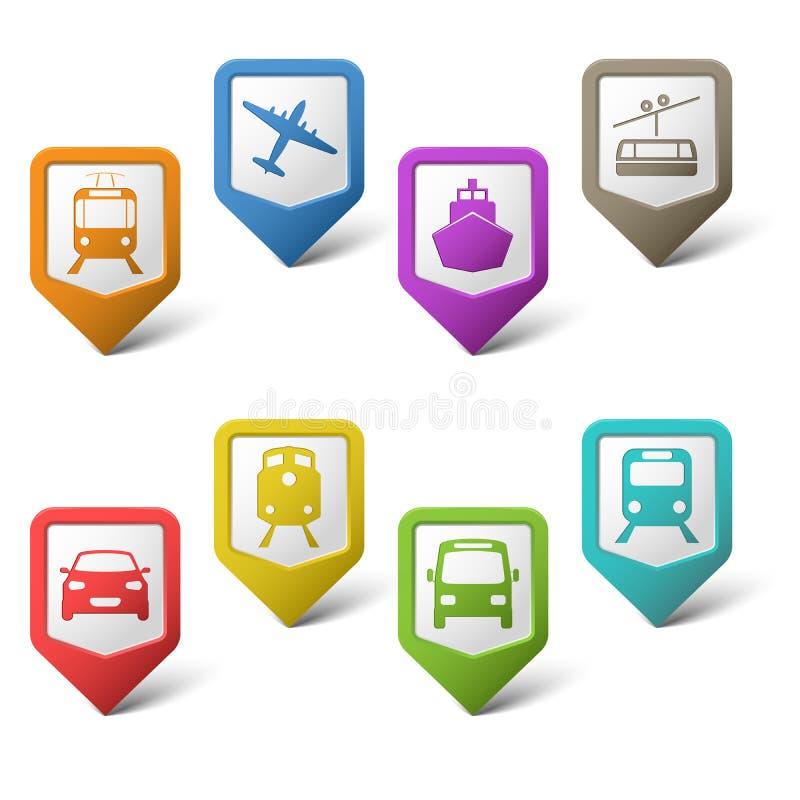 运输的五颜六色的集合尖 向量例证
