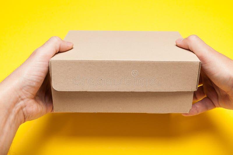 运输的交付箱子在手上,catron包裹 库存图片