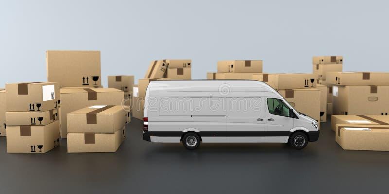 运输的纸盒送货车 皇族释放例证