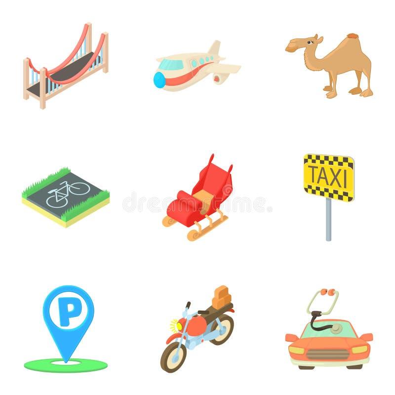 运输被设置的技术象,动画片样式 库存例证