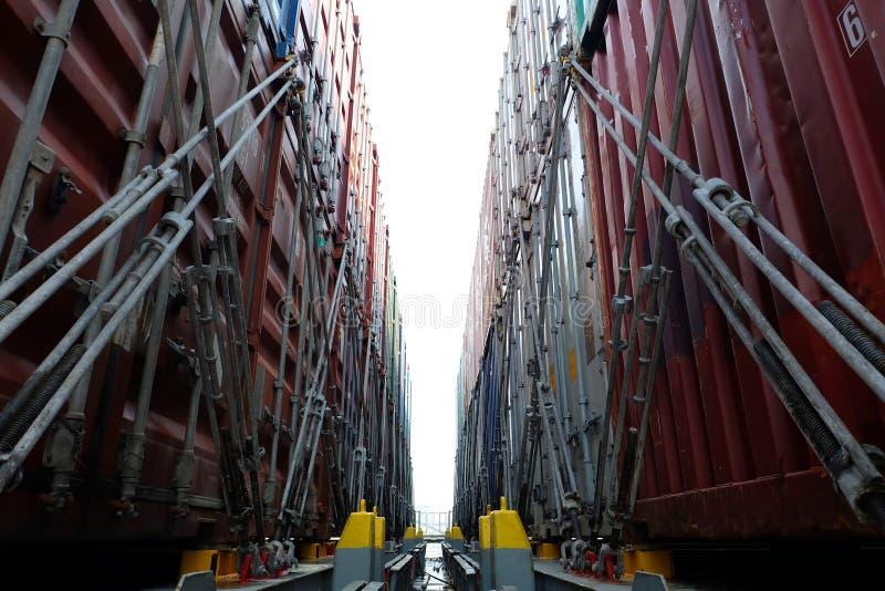 运输货柜抨击在机上 免版税图库摄影