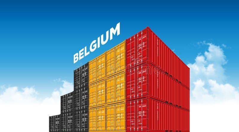 运输货箱后勤学的比利时有云彩的旗子和运输 向量例证