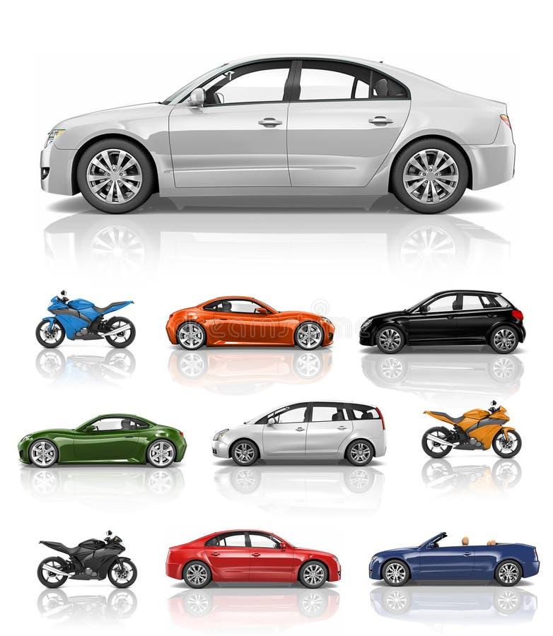 运输车汽车摩托车表现概念 库存例证