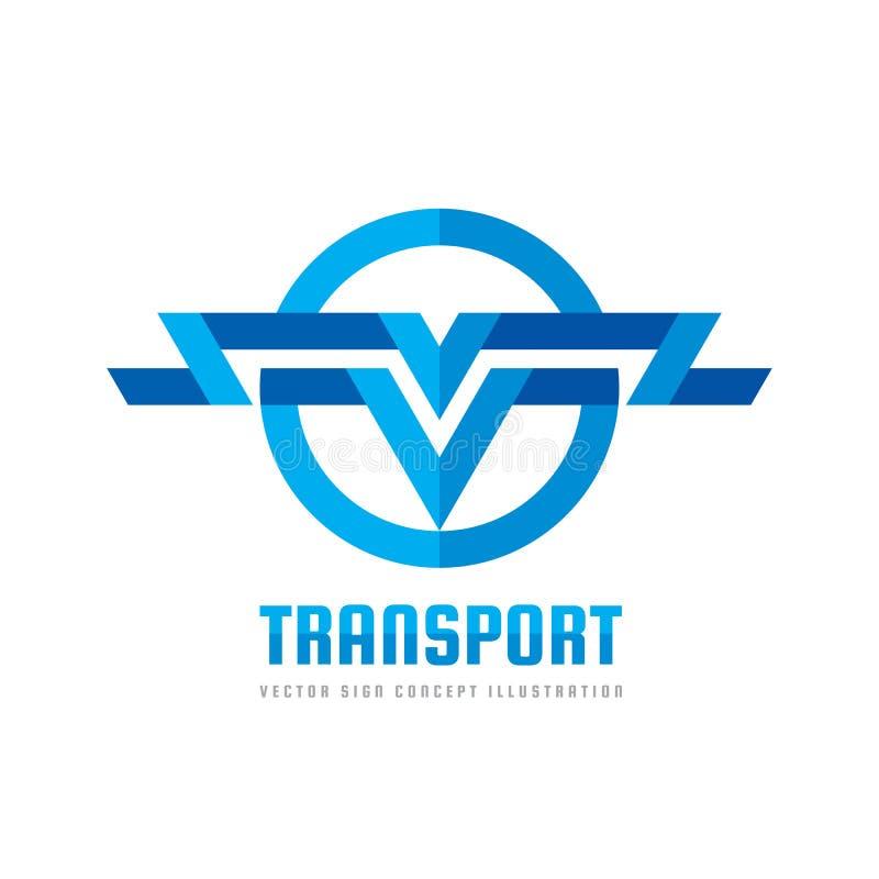 运输-传染媒介商标概念例证 在圈子形状的抽象条纹 翼标志 信件v标志 后勤象 皇族释放例证
