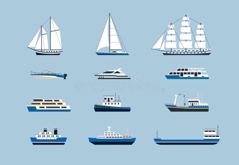水运输-现代被设置的传染媒介平的设计象 皇族释放例证