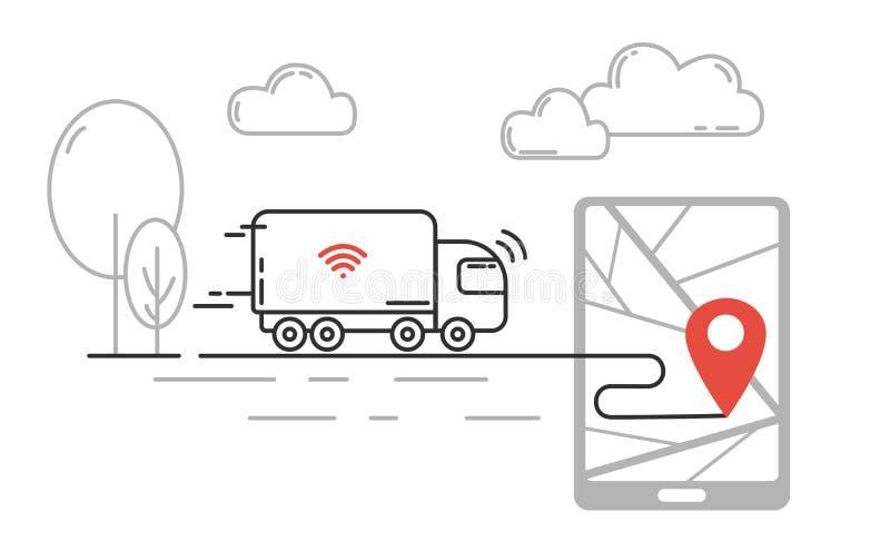 运输-驾驶卡车的自已未来技术移动由喂 向量例证