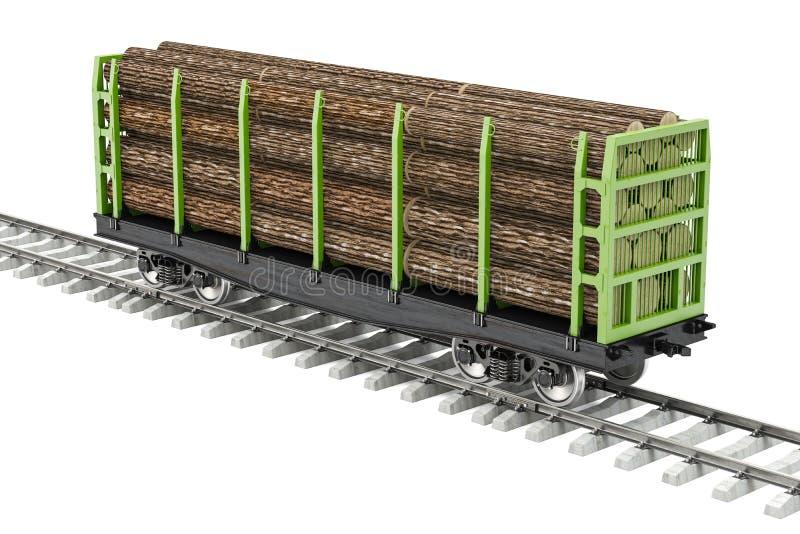 运送在铁路与木日志, 3D的无盖货车翻译 库存例证