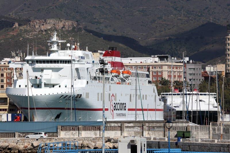 在马拉加,西班牙运送船 免版税库存照片