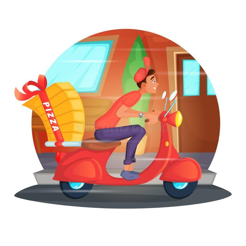 运送薄饼的滑行车传讯者的概念例证 薄饼送货员在自行车的街道乘坐 皇族释放例证