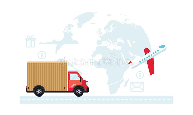 运送运输和交付,后勤管理传染媒介例证 库存例证