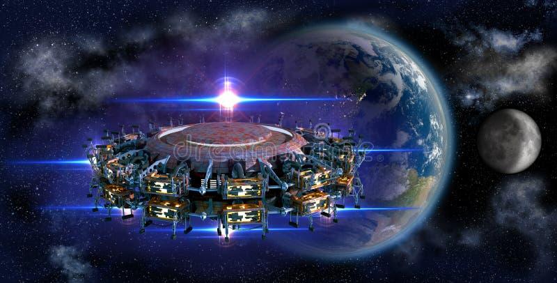 临近地球的外籍人母舰飞碟 向量例证