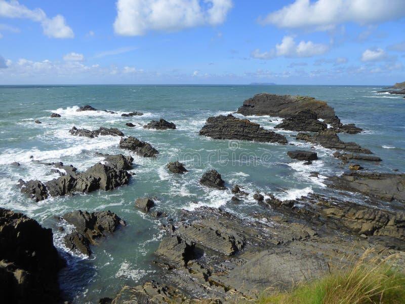 近海岩石和波浪 免版税库存图片