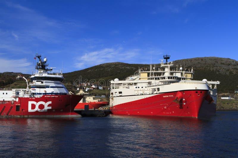 近海油和煤气地震船 图库摄影