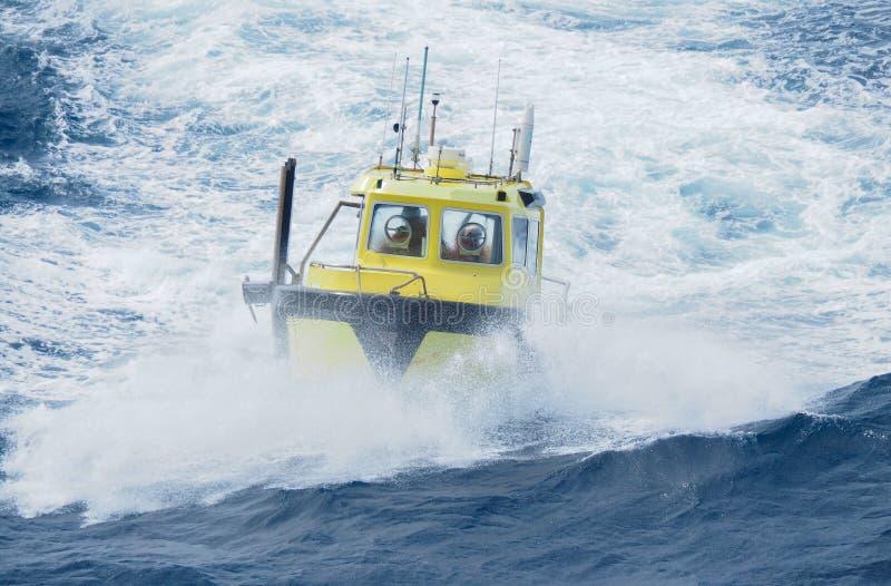 近海油和煤气地震workboat在墨西哥湾 免版税库存图片