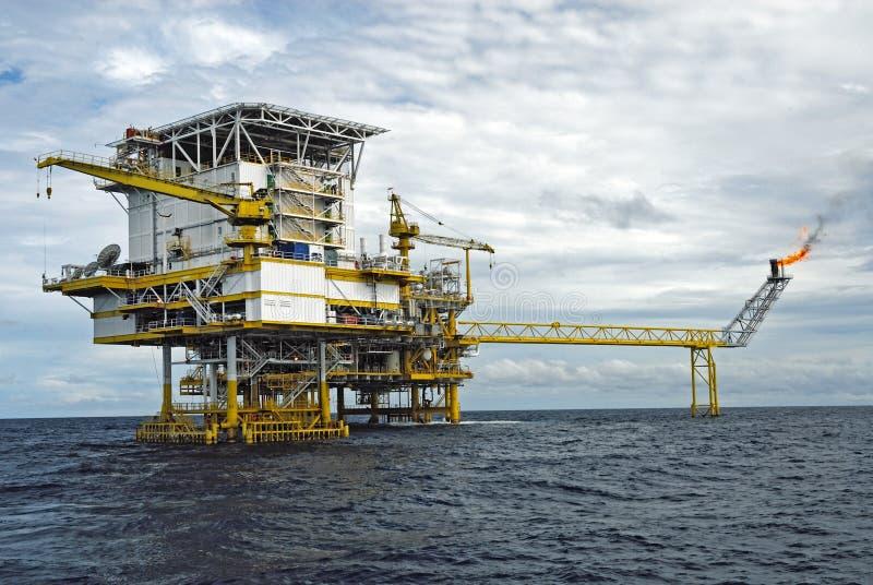 近海生产平台在泰国湾 免版税图库摄影