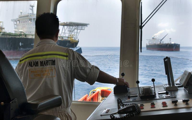近海船海上capten回旋船 库存照片