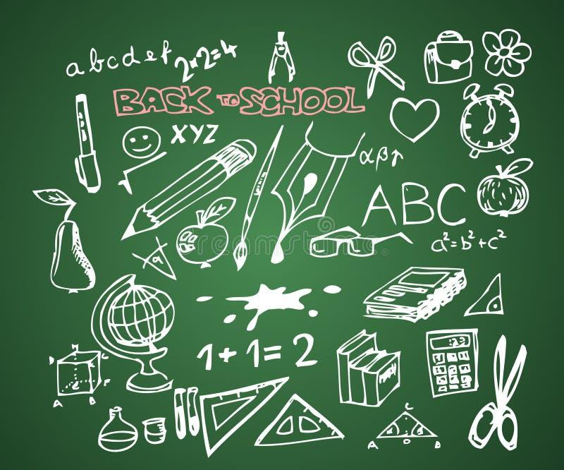 返回乱画学校被设置 库存例证