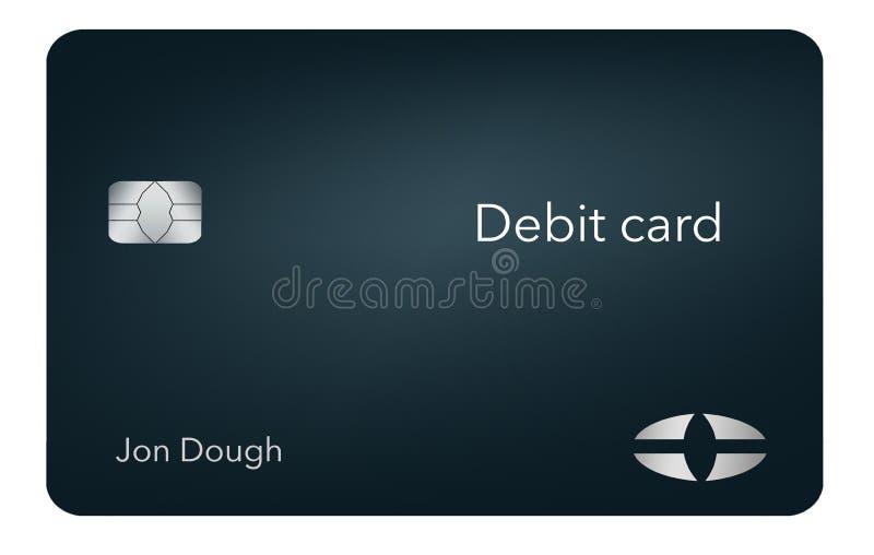 这一张现代和时髦的银行借项卡片 它是例证并且是假装和普通的避免商标的所有问题 皇族释放例证