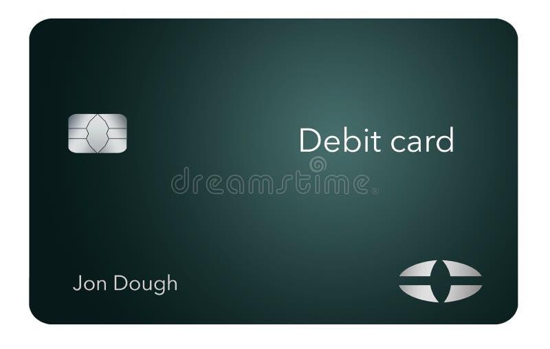 这一张现代和时髦的银行借项卡片 它是例证并且是假装和普通的避免商标的所有问题 向量例证