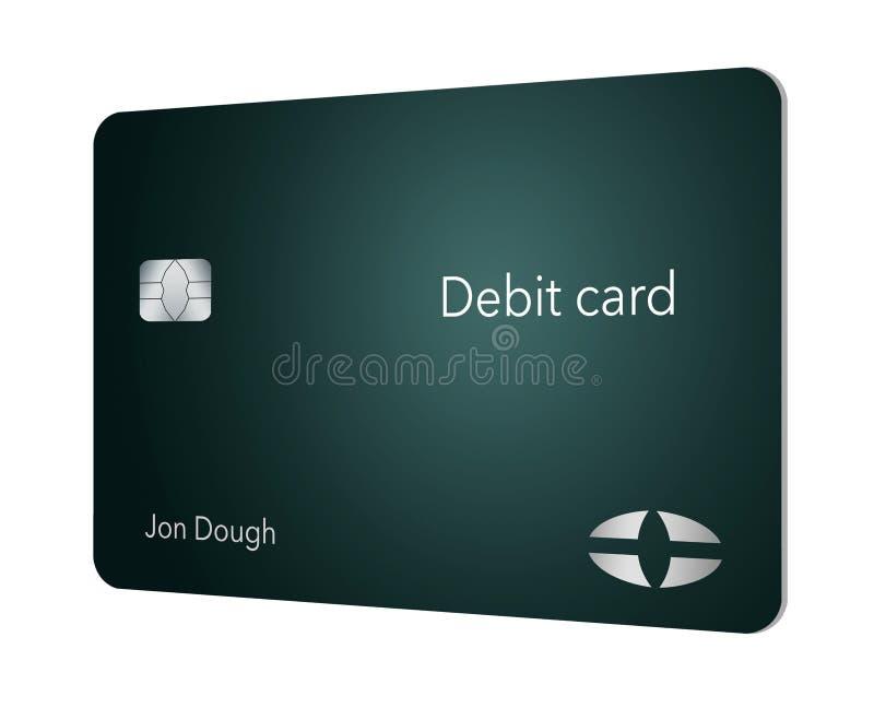 这一张现代和时髦的银行借项卡片 它是例证并且是假装和普通的避免商标的所有问题 库存例证