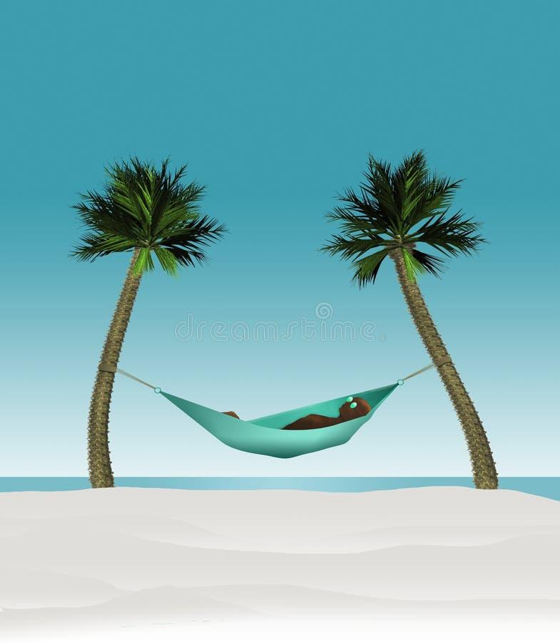 这三维回报在吊床的一个人的例证被串起在一个热带海滩的两棵小棕榈树之间与白色 库存例证