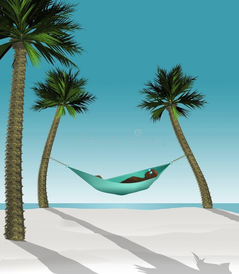 这三维回报在吊床的一个人的例证被串起在一个热带海滩的两棵小棕榈树之间与白色 向量例证