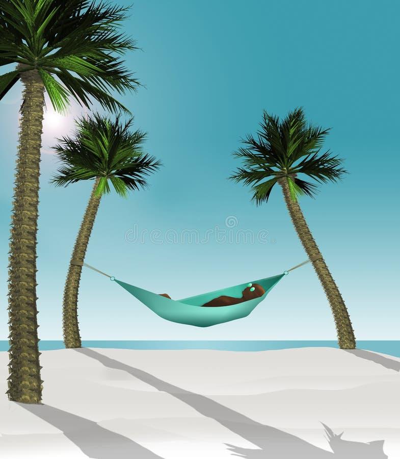 这三维回报在吊床的一个人的例证被串起在一个热带海滩的两棵小棕榈树之间与白色 皇族释放例证
