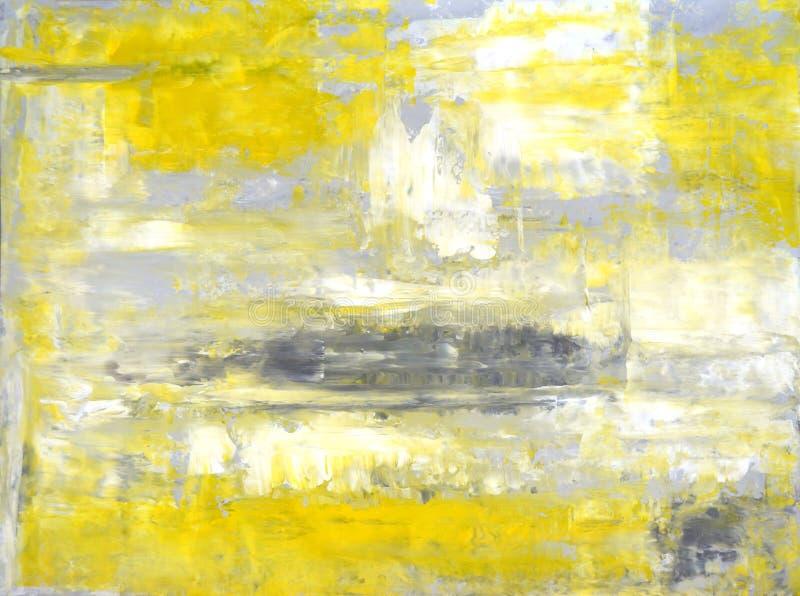 灰色和黄色抽象派绘画 免版税库存照片