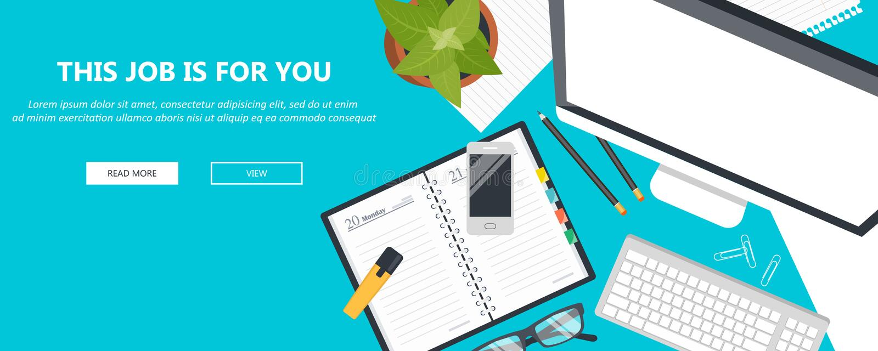 这个工作是为您概念 雇用和找到工作概念的新的人 书桌用办公设备 平的传染媒介 向量例证