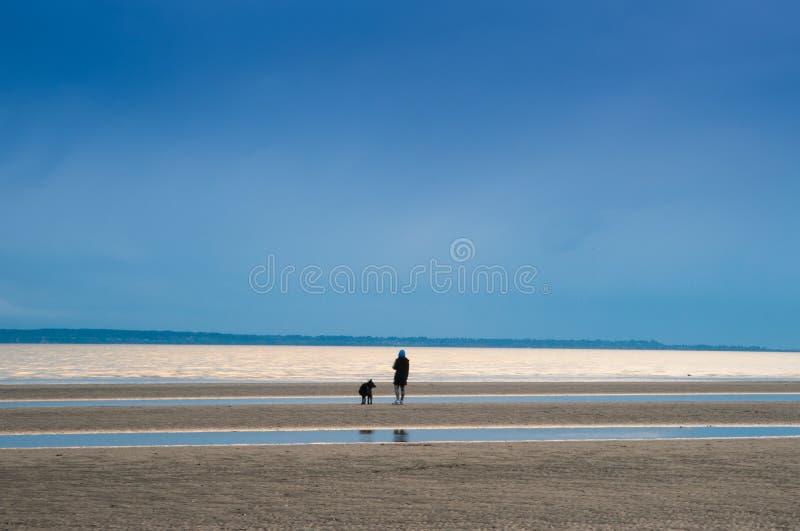 这个独自在沙滩上的人似乎喜欢社交疏远 免版税库存图片