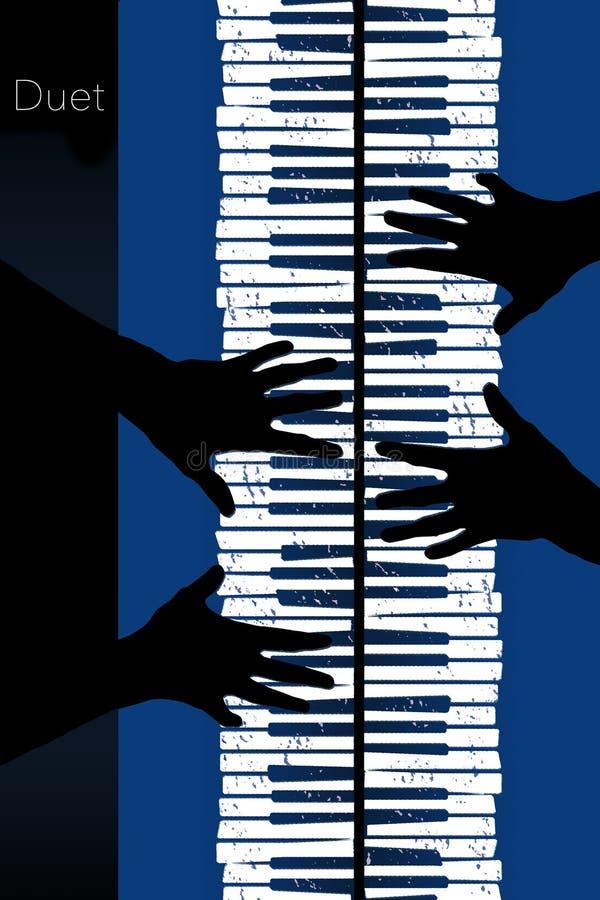 这关于钢琴二重奏的一个图象 皇族释放例证