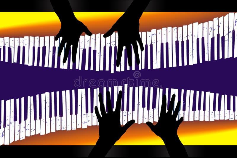 这关于钢琴二重奏的一个图象 库存例证