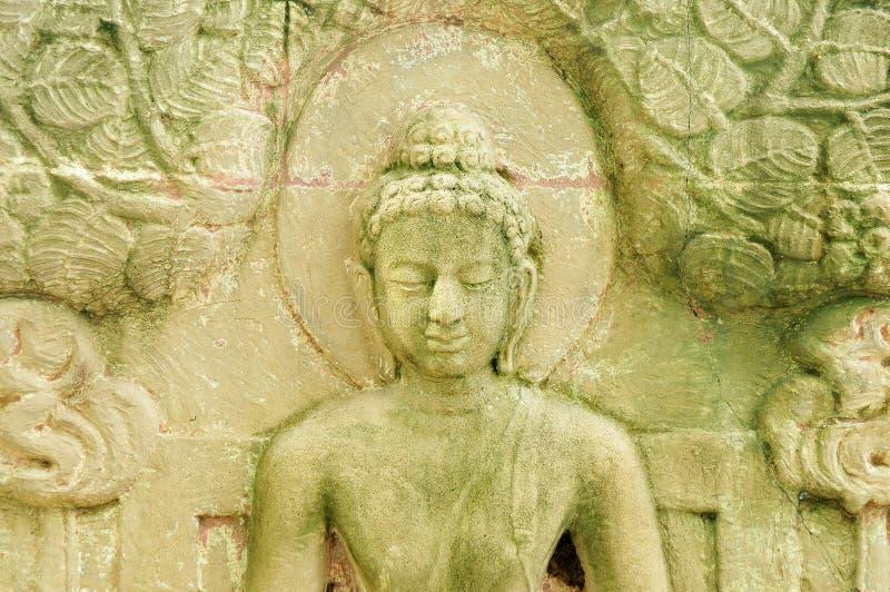 这是一低雕刻菩萨` s传记 库存照片
