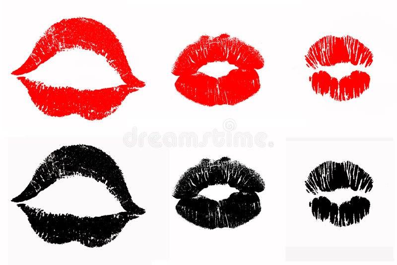 嘴唇印刷品唇膏亲吻 免版税库存照片