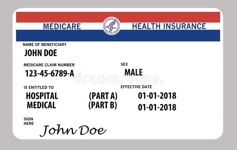 这是一张普通联邦医疗保障卡片 类属名和商标在这张卡片 免版税库存图片