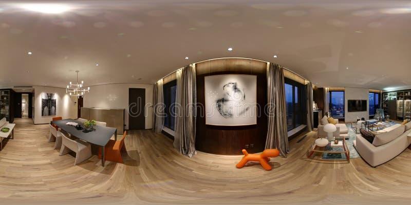 这是一栋精心布置的公寓有一幅360度全景 免版税库存图片