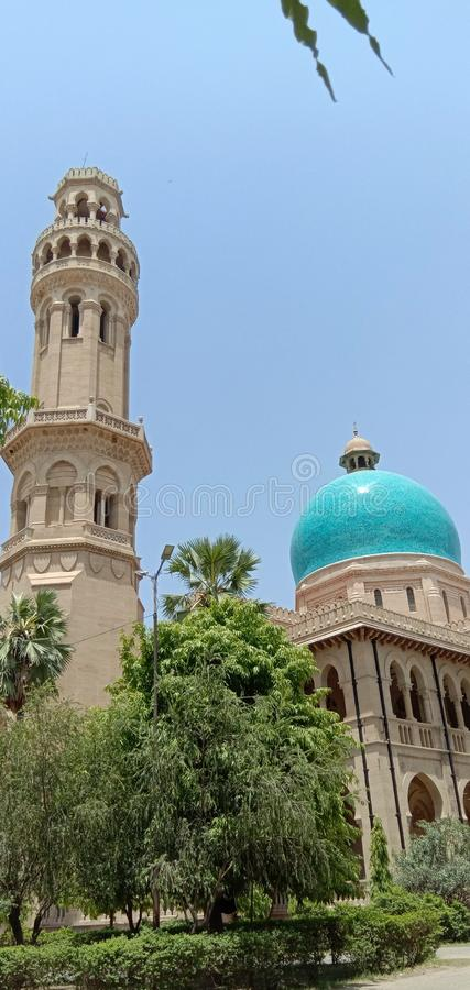 这是印度阿拉哈巴德的一座塔楼树和一座建筑 库存图片