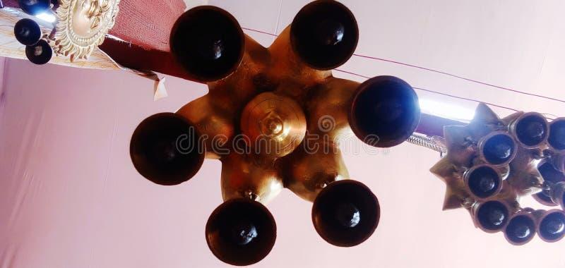 这是印度阿拉哈巴德的库姆卜·梅拉上吊钟的画面 免版税图库摄影