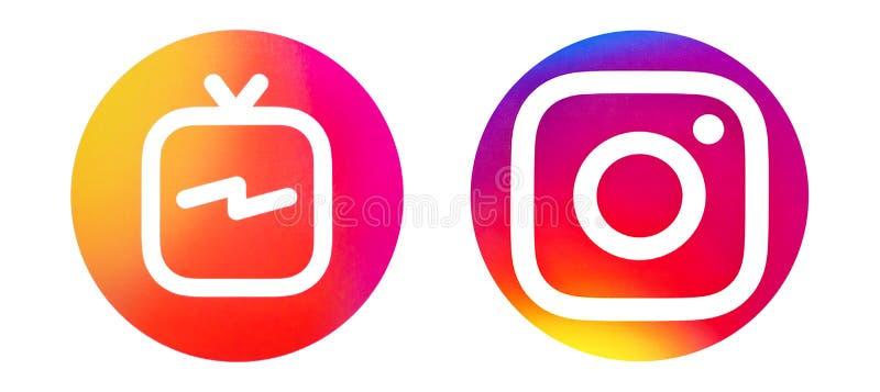 这是在纸打印的Instagram和Instagram IGTV商标照片 库存照片