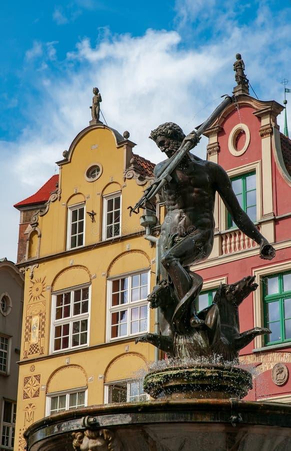 波兰格但斯克老城海王星喷泉 图库摄影