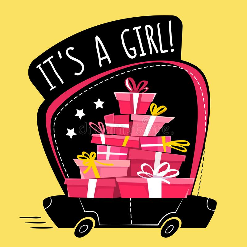 这是女孩问候明信片或贴纸,动画片错误透视最小的平的样式 充分连续汽车礼物,礼物sta 向量例证