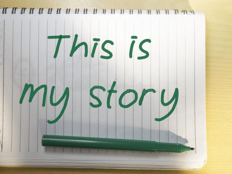 这是我的故事,诱导激动人心的行情 库存照片