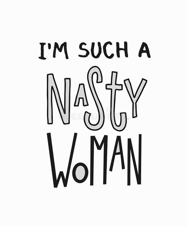 这样讨厌的妇女无所畏惧的奇怪的行情字法 库存例证
