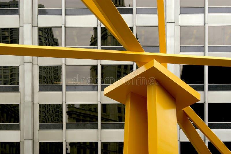 这种芝加哥都市风景有抽象派元素和城市的有趣的透视 库存图片