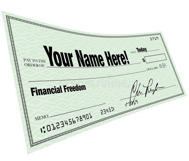 这里空白支票财务自由命名您 向量例证