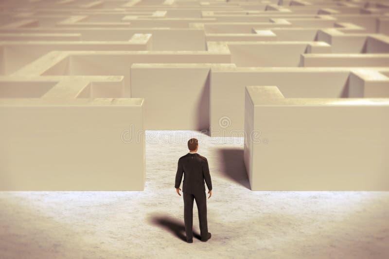进入一个白色迷宫结构的玩具微型商人小雕象 向量例证