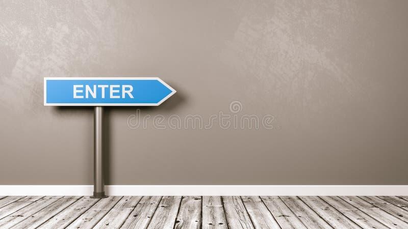 进入定向箭头路标在里有拷贝空间的屋子 皇族释放例证